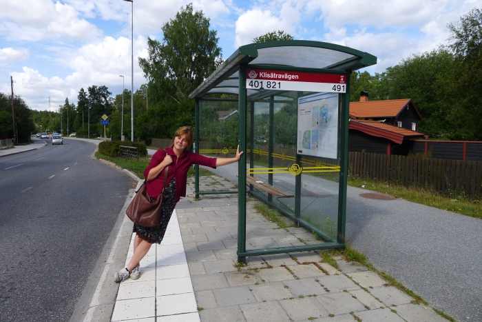 Ulla Wrethagen at the bus stop